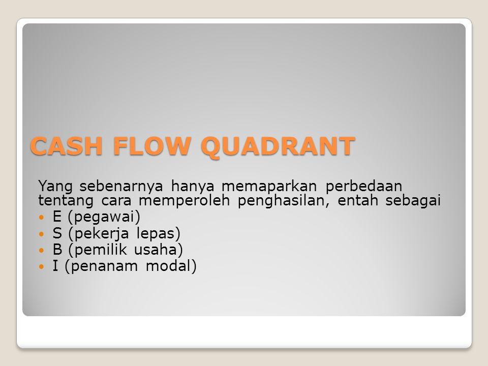 CASH FLOW QUADRANT Yang sebenarnya hanya memaparkan perbedaan tentang cara memperoleh penghasilan, entah sebagai E (pegawai) S (pekerja lepas) B (pemi