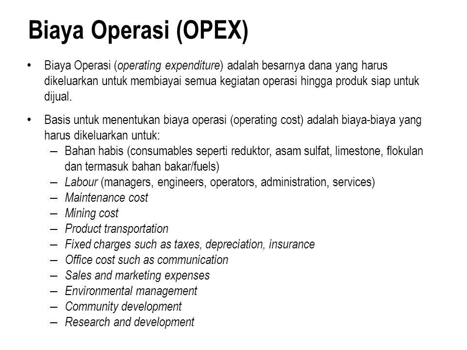 Biaya Operasi (OPEX) Biaya Operasi ( operating expenditure ) adalah besarnya dana yang harus dikeluarkan untuk membiayai semua kegiatan operasi hingga