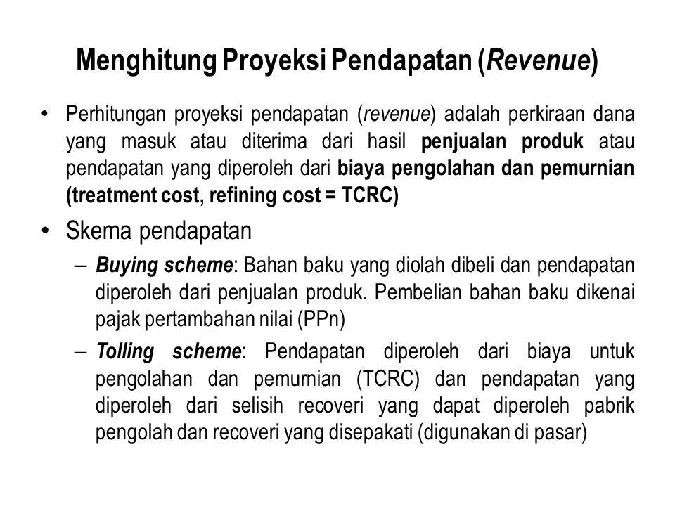 Menghitung Proyeksi Pendapatan ( Revenue ) Perhitungan proyeksi pendapatan ( revenue ) adalah perkiraan dana yang masuk atau diterima dari hasil penjualan produk atau pendapatan yang diperoleh dari biaya pengolahan dan pemurnian (treatment cost, refining cost = TCRC) Skema pendapatan – Buying scheme : Bahan baku yang diolah dibeli dan pendapatan diperoleh dari penjualan produk.