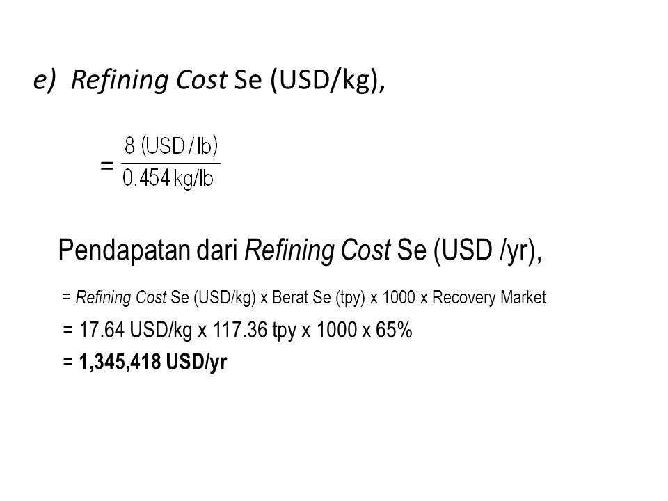 e)Refining Cost Se (USD/kg), = Pendapatan dari Refining Cost Se (USD /yr), = Refining Cost Se (USD/kg) x Berat Se (tpy) x 1000 x Recovery Market = 17.64 USD/kg x 117.36 tpy x 1000 x 65% = 1,345,418 USD/yr