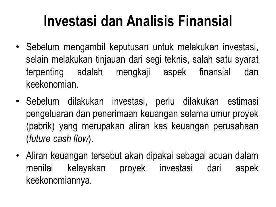 Investasi dan Analisis Finansial Sebelum mengambil keputusan untuk melakukan investasi, selain melakukan tinjauan dari segi teknis, salah satu syarat terpenting adalah mengkaji aspek finansial dan keekonomian.