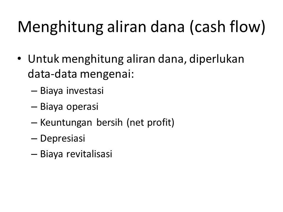 Menghitung aliran dana (cash flow) Untuk menghitung aliran dana, diperlukan data-data mengenai: – Biaya investasi – Biaya operasi – Keuntungan bersih (net profit) – Depresiasi – Biaya revitalisasi