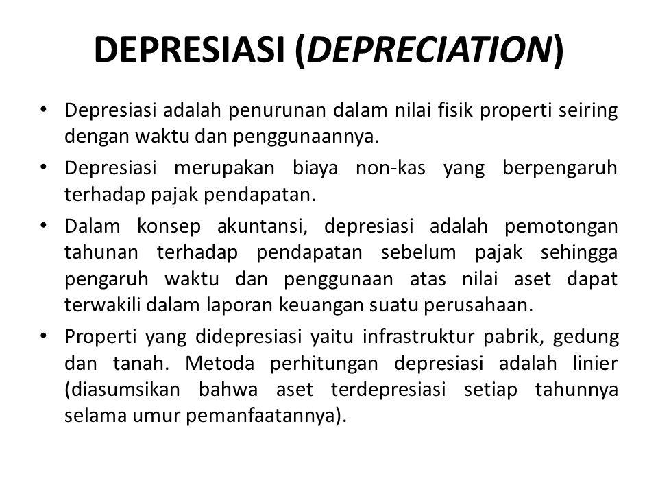 DEPRESIASI (DEPRECIATION) Depresiasi adalah penurunan dalam nilai fisik properti seiring dengan waktu dan penggunaannya. Depresiasi merupakan biaya no