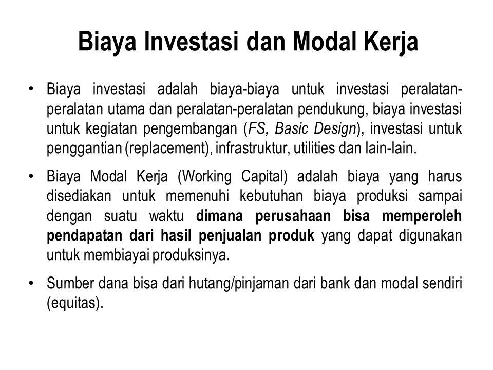 Biaya Investasi dan Modal Kerja Biaya investasi adalah biaya-biaya untuk investasi peralatan- peralatan utama dan peralatan-peralatan pendukung, biaya investasi untuk kegiatan pengembangan ( FS, Basic Design ), investasi untuk penggantian (replacement), infrastruktur, utilities dan lain-lain.