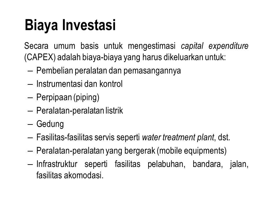 Biaya Investasi Secara umum basis untuk mengestimasi capital expenditure (CAPEX) adalah biaya-biaya yang harus dikeluarkan untuk: – Pembelian peralata
