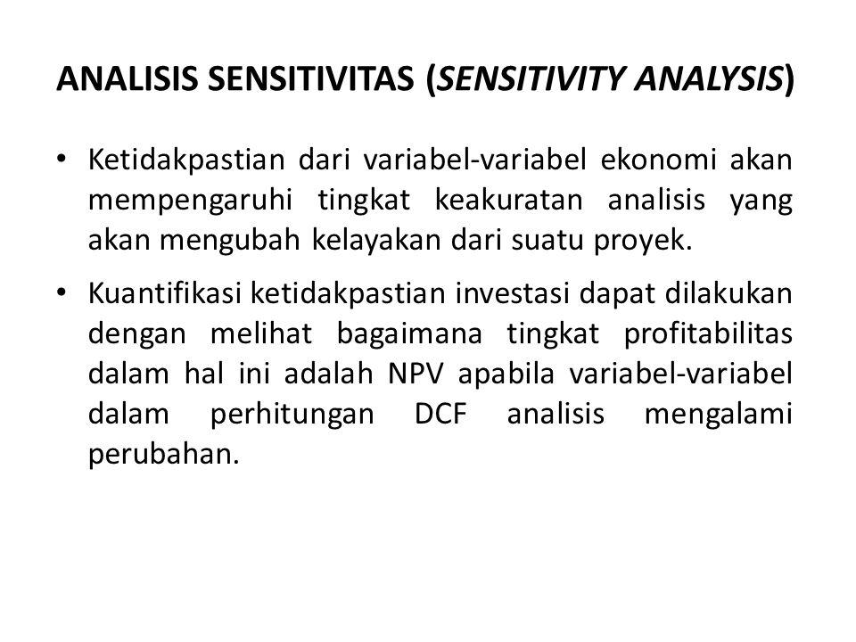 ANALISIS SENSITIVITAS (SENSITIVITY ANALYSIS) Ketidakpastian dari variabel-variabel ekonomi akan mempengaruhi tingkat keakuratan analisis yang akan mengubah kelayakan dari suatu proyek.