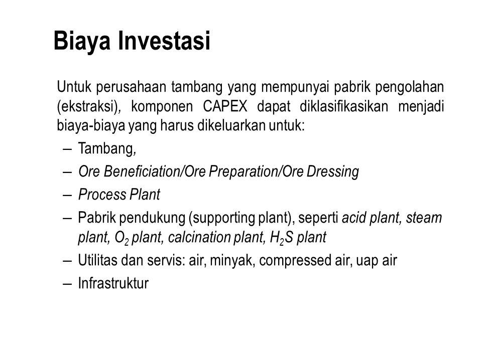 Biaya Investasi Untuk perusahaan tambang yang mempunyai pabrik pengolahan (ekstraksi), komponen CAPEX dapat diklasifikasikan menjadi biaya-biaya yang harus dikeluarkan untuk: – Tambang, – Ore Beneficiation/Ore Preparation/Ore Dressing – Process Plant – Pabrik pendukung (supporting plant), seperti acid plant, steam plant, O 2 plant, calcination plant, H 2 S plant – Utilitas dan servis: air, minyak, compressed air, uap air – Infrastruktur