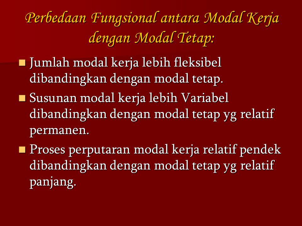 Perbedaan Fungsional antara Modal Kerja dengan Modal Tetap: Jumlah modal kerja lebih fleksibel dibandingkan dengan modal tetap. Jumlah modal kerja leb