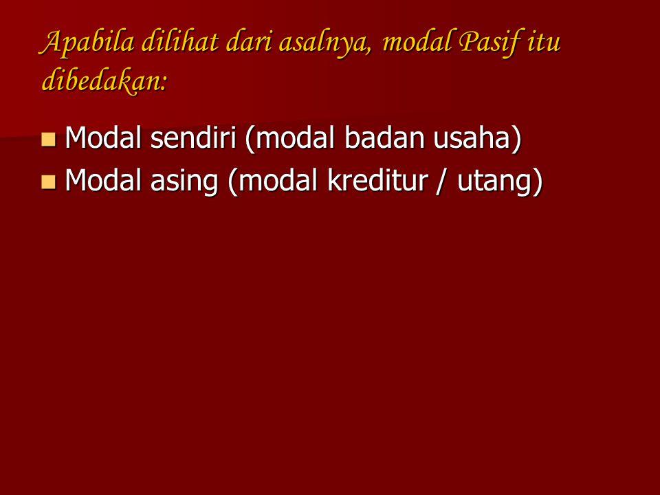 Apabila dilihat dari asalnya, modal Pasif itu dibedakan: Modal sendiri (modal badan usaha) Modal sendiri (modal badan usaha) Modal asing (modal kredit