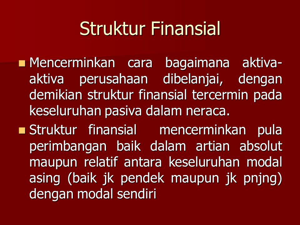 Struktur Finansial Mencerminkan cara bagaimana aktiva- aktiva perusahaan dibelanjai, dengan demikian struktur finansial tercermin pada keseluruhan pas