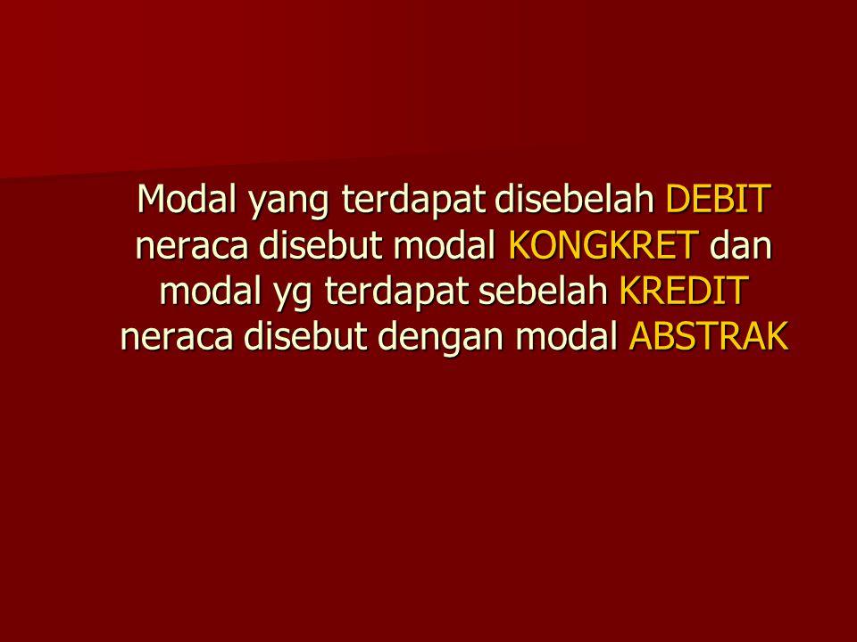 Modal yang terdapat disebelah DEBIT neraca disebut modal KONGKRET dan modal yg terdapat sebelah KREDIT neraca disebut dengan modal ABSTRAK