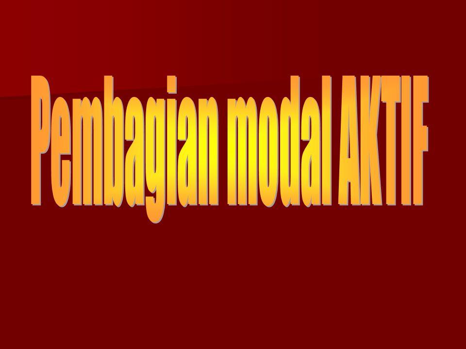Berdasarkan cara lama perputaran Modal AKTIF, terdiri dari: Aktiva Lancar Aktiva Lancar Aktiva Tetap Aktiva Tetap