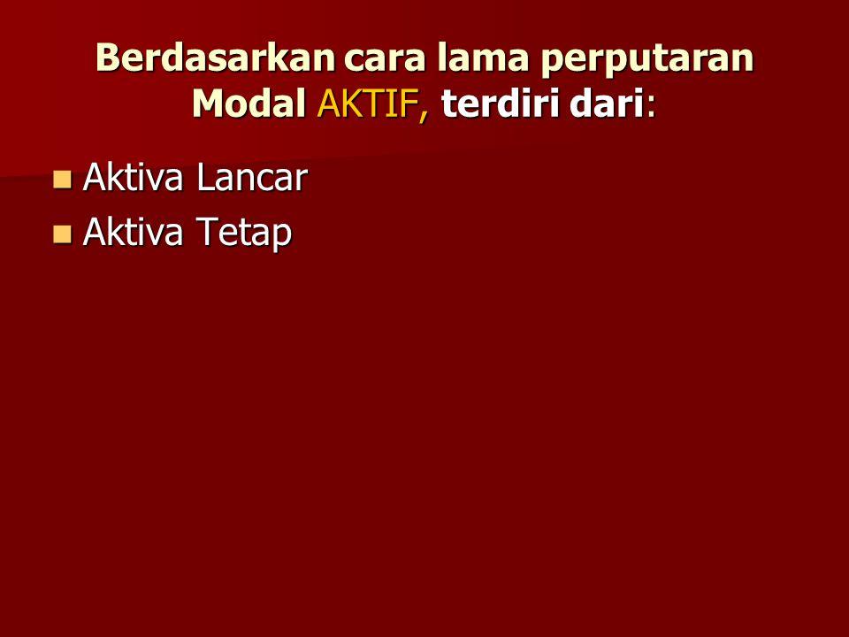 Berdasarkan fungsi bekerjanya aktiva dalam perusahaan Modal AKTIF, dapat dibedakan: Modal KERJA (working capital assets) Modal KERJA (working capital assets) Modal TETAP (fixed capital assets) Modal TETAP (fixed capital assets)