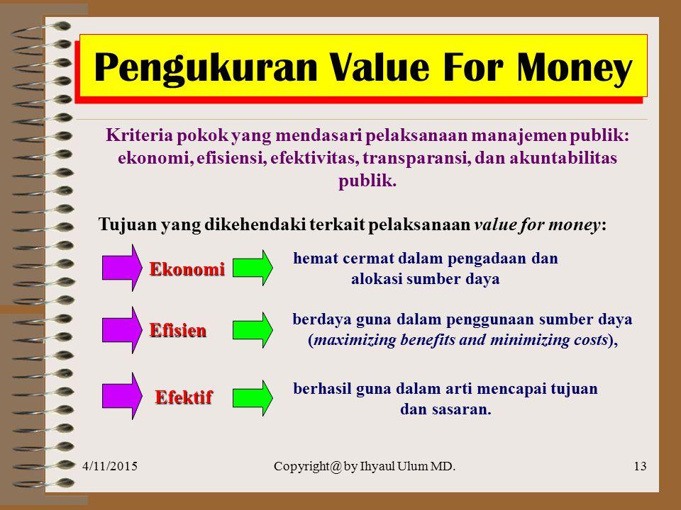 4/11/2015Copyright@ by Ihyaul Ulum MD.12 Manfaat Implementasi Konsep Value for Money  Meningkatan efektivitas pelayanan publik, dalam arti pelayanan