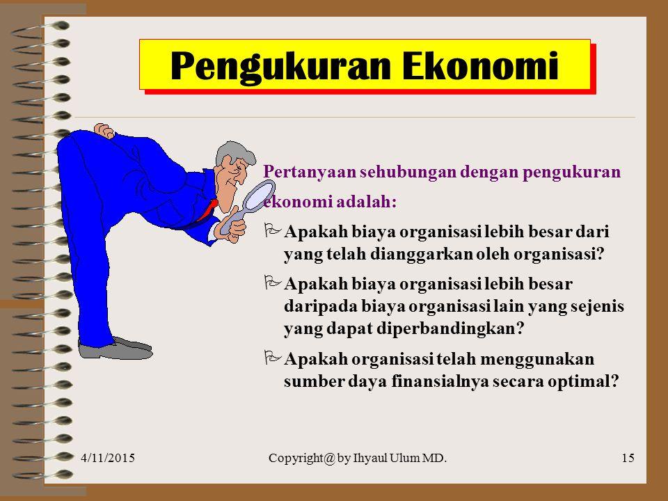 4/11/2015Copyright@ by Ihyaul Ulum MD.14 Pengukuran Value For Money Pengukuran Value for Money NILAI INPUT (Rp) INPUTINPUTPROSESPROSESOUTPUTOUTPUTOUTC