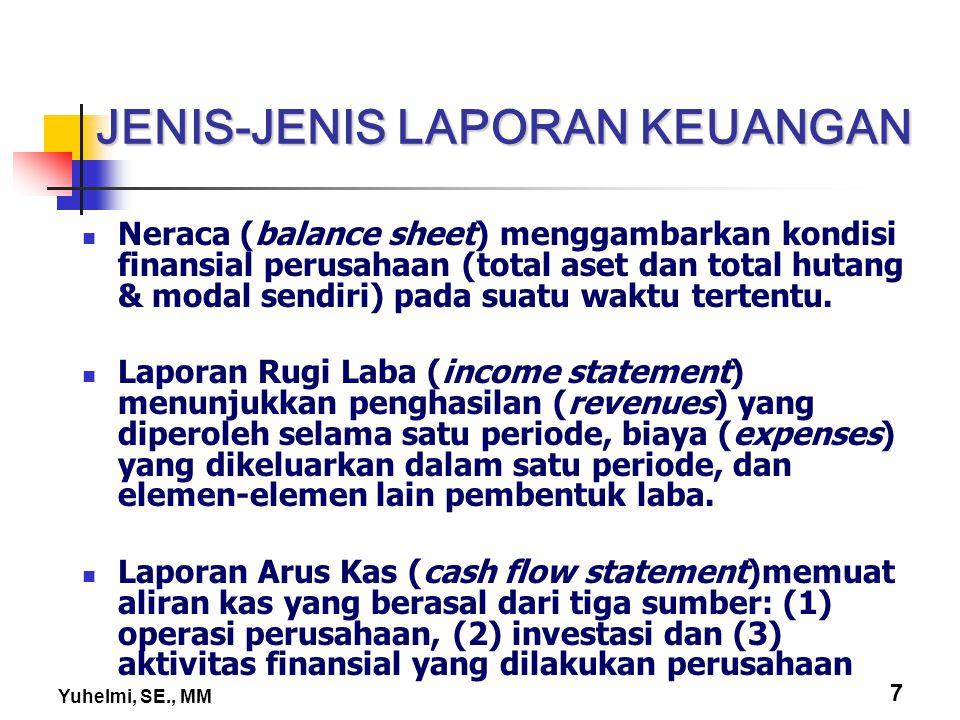Yuhelmi, SE., MM 7 JENIS-JENIS LAPORAN KEUANGAN Neraca (balance sheet) menggambarkan kondisi finansial perusahaan (total aset dan total hutang & modal