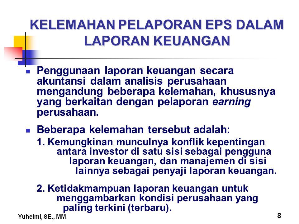 Yuhelmi, SE., MM 8 KELEMAHAN PELAPORAN EPS DALAM LAPORAN KEUANGAN Penggunaan laporan keuangan secara akuntansi dalam analisis perusahaan mengandung be