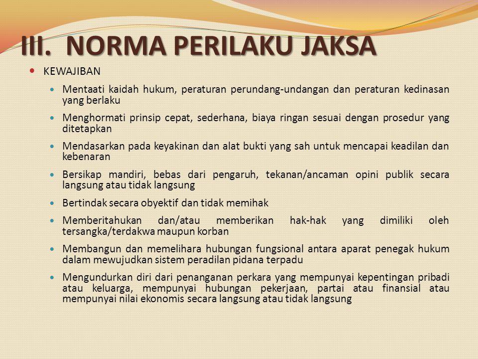 III. NORMA PERILAKU JAKSA KEWAJIBAN Mentaati kaidah hukum, peraturan perundang-undangan dan peraturan kedinasan yang berlaku Menghormati prinsip cepat