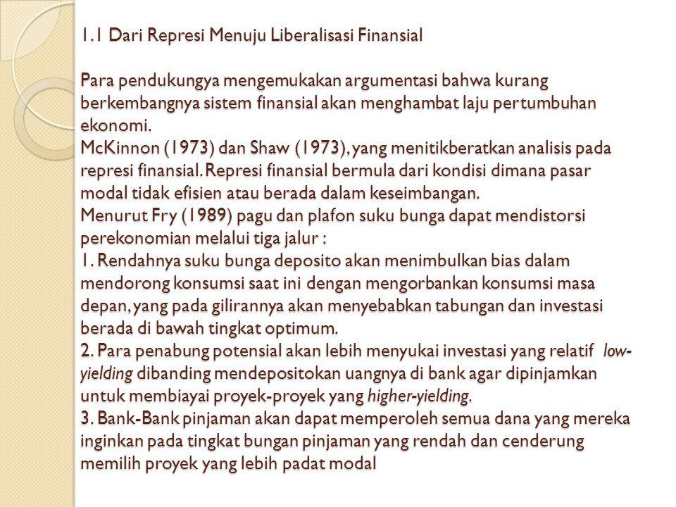 1.1 Dari Represi Menuju Liberalisasi Finansial Para pendukungya mengemukakan argumentasi bahwa kurang berkembangnya sistem finansial akan menghambat l