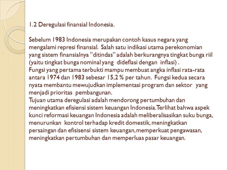 1.2 Deregulasi finansial Indonesia. Sebelum 1983 Indonesia merupakan contoh kasus negara yang mengalami represi finansial. Salah satu indikasi utama p