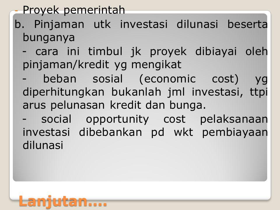 Lanjutan.... - Proyek pemerintah b. Pinjaman utk investasi dilunasi beserta bunganya - cara ini timbul jk proyek dibiayai oleh pinjaman/kredit yg meng