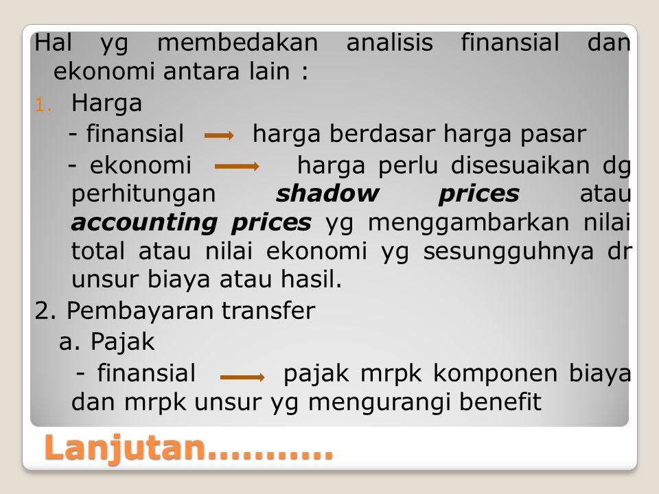 Lanjutan........... Hal yg membedakan analisis finansial dan ekonomi antara lain : 1. Harga - finansial harga berdasar harga pasar - ekonomi harga per