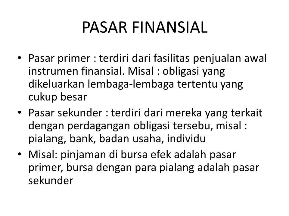 PASAR FINANSIAL Pasar primer : terdiri dari fasilitas penjualan awal instrumen finansial. Misal : obligasi yang dikeluarkan lembaga-lembaga tertentu y