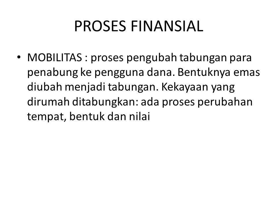 PROSES FINANSIAL MOBILITAS : proses pengubah tabungan para penabung ke pengguna dana. Bentuknya emas diubah menjadi tabungan. Kekayaan yang dirumah di