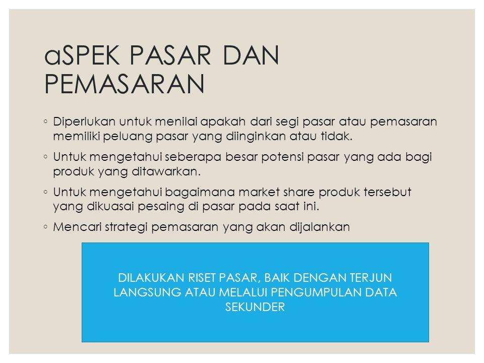 aSPEK PASAR DAN PEMASARAN ◦ Diperlukan untuk menilai apakah dari segi pasar atau pemasaran memiliki peluang pasar yang diinginkan atau tidak. ◦ Untuk