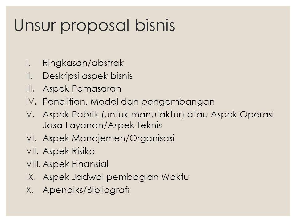 Unsur proposal bisnis I.Ringkasan/abstrak II.Deskripsi aspek bisnis III.Aspek Pemasaran IV.Penelitian, Model dan pengembangan V.Aspek Pabrik (untuk ma