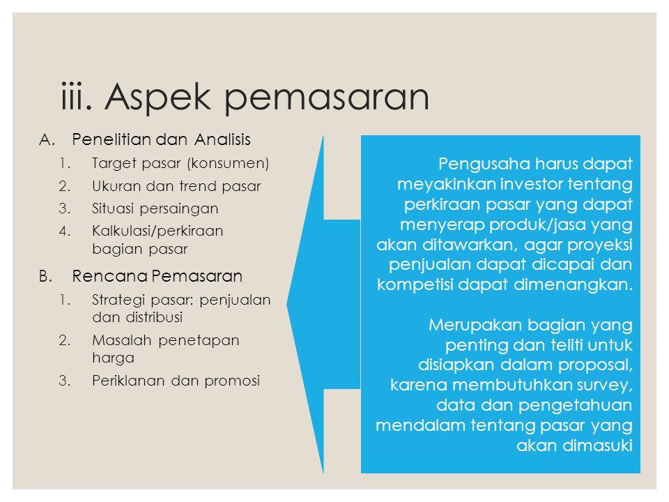 iii. Aspek pemasaran A.Penelitian dan Analisis 1.Target pasar (konsumen) 2.Ukuran dan trend pasar 3.Situasi persaingan 4.Kalkulasi/perkiraan bagian pa