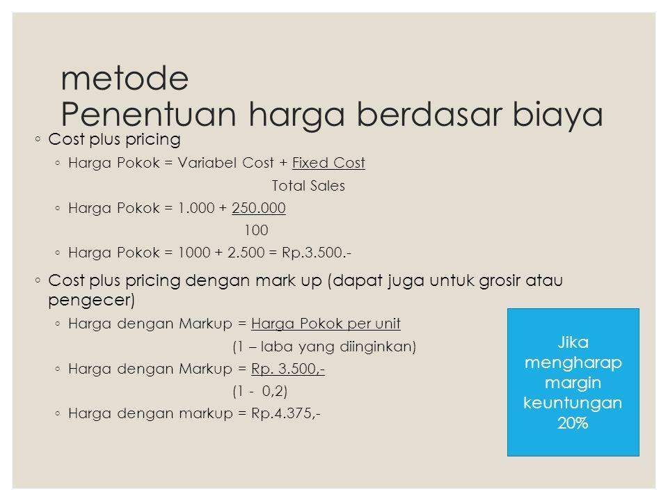 metode Penentuan harga berdasar biaya ◦ Cost plus pricing ◦ Harga Pokok = Variabel Cost + Fixed Cost Total Sales ◦ Harga Pokok = 1.000 + 250.000 100 ◦