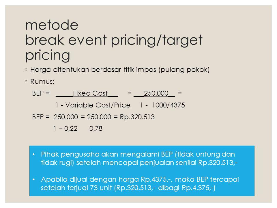 metode break event pricing/target pricing ◦ Harga ditentukan berdasar titik impas (pulang pokok) ◦ Rumus: BEP = _____Fixed Cost___ = ___250.000__ = 1