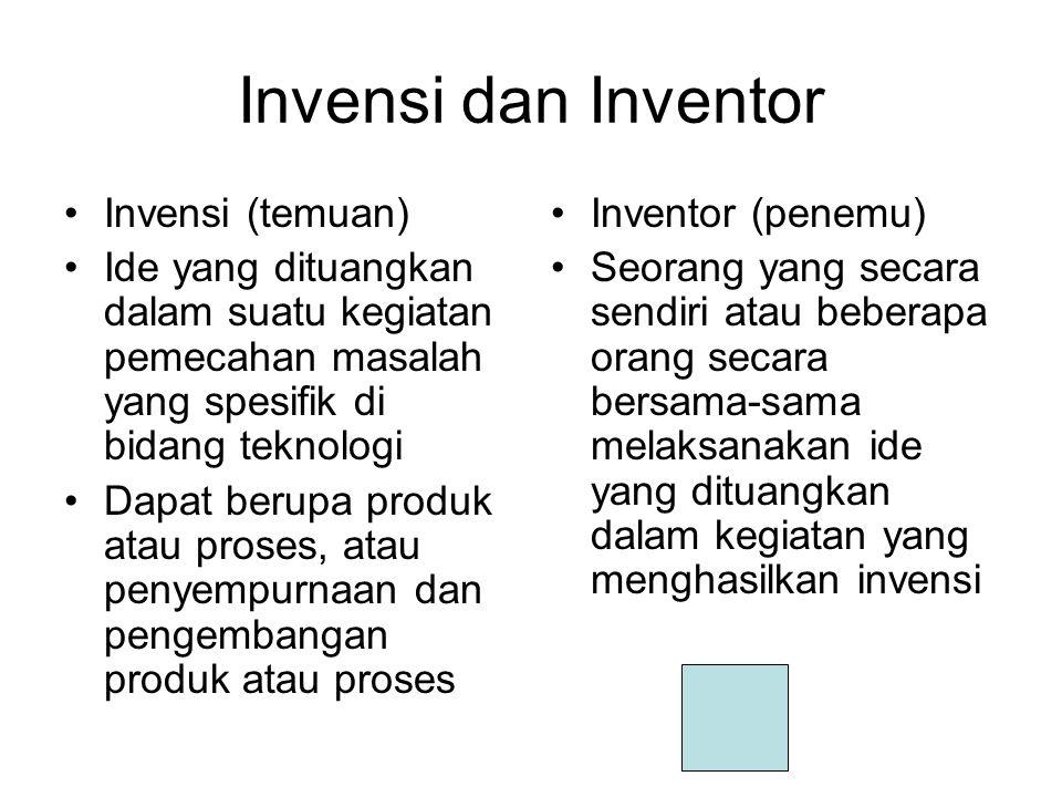 Invensi dan Inventor Invensi (temuan) Ide yang dituangkan dalam suatu kegiatan pemecahan masalah yang spesifik di bidang teknologi Dapat berupa produk