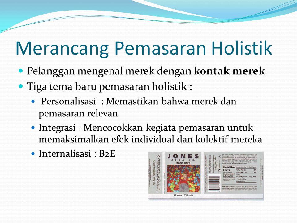 Merancang Pemasaran Holistik Pelanggan mengenal merek dengan kontak merek Tiga tema baru pemasaran holistik : Personalisasi : Memastikan bahwa merek dan pemasaran relevan Integrasi : Mencocokkan kegiata pemasaran untuk memaksimalkan efek individual dan kolektif mereka Internalisasi : B2E