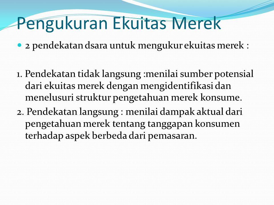 Pengukuran Ekuitas Merek 2 pendekatan dsara untuk mengukur ekuitas merek : 1.
