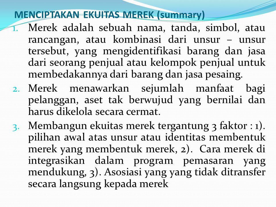 MENCIPTAKAN EKUITAS MEREK (summary) 1.