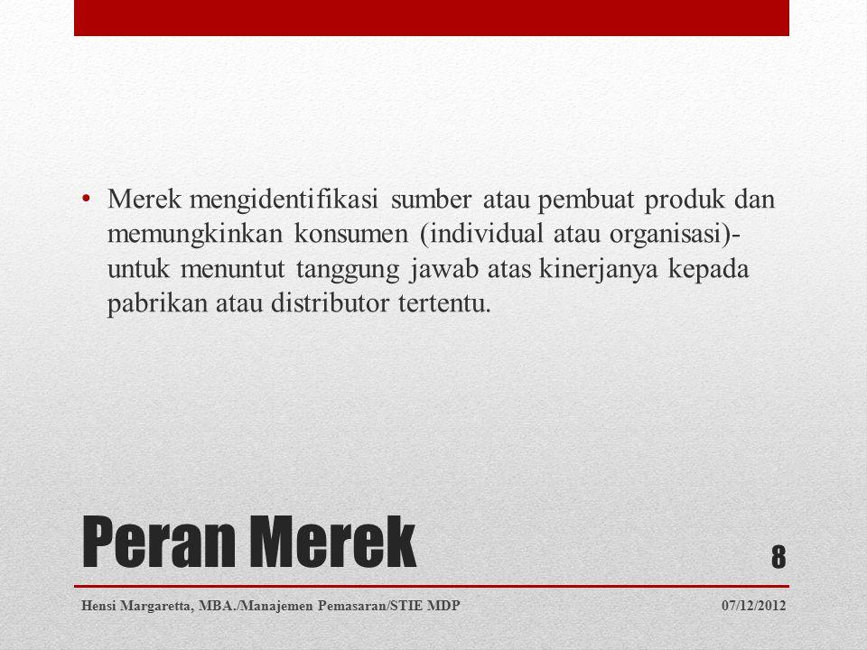 Peran Merek Merek melaksanakan fungsi yang berharga bagi perusahaan.