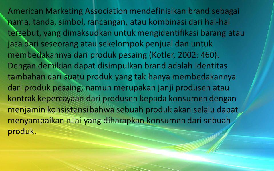 Definisi Brand (merek) Brand atau merek adalah janji penjual untuk menyampaikan kumpulan sifat, manfaat, dan jasa spesifik secara konsisten kepada pembeli (Kotler, Armstrong, 1997: 283).