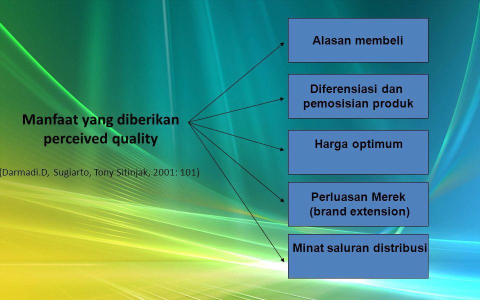 Perceived quality adalah persepsi pelanggan terhadap kualitas atau keunggulan suatu produk atau layanan ditinjau dari fungsinya secara relatif dengan produk-produk lain.
