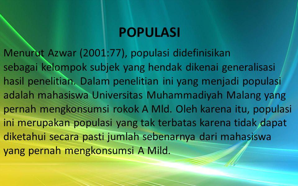 METODE PENELITIAN Lokasi dan Objek penelitian Lokasi penelitian ini adalah Universitas Muhammadiyah Malang, alasan dalam pemilihan lokasi ini karena pertama, banyak mahasiswa Universitas Muhammadiyah Malang merupakan perokok aktif.