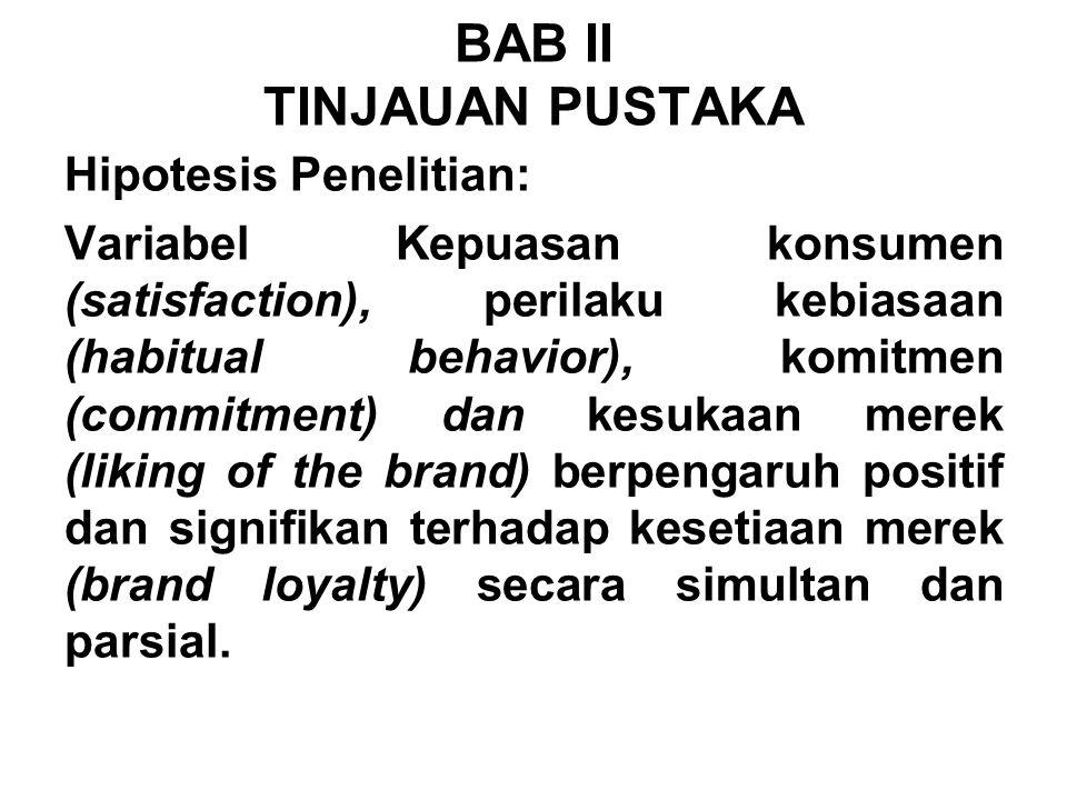 Hipotesis Penelitian: Variabel Kepuasan konsumen (satisfaction), perilaku kebiasaan (habitual behavior), komitmen (commitment) dan kesukaan merek (lik