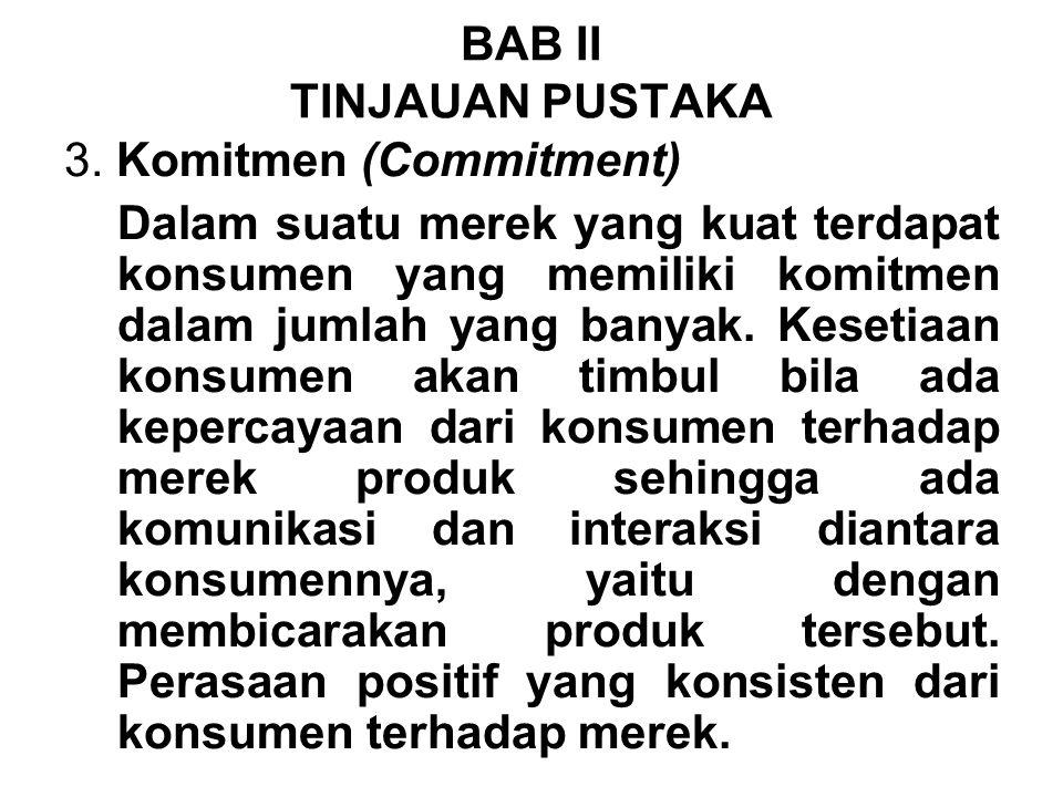 3. Komitmen (Commitment) Dalam suatu merek yang kuat terdapat konsumen yang memiliki komitmen dalam jumlah yang banyak. Kesetiaan konsumen akan timbul