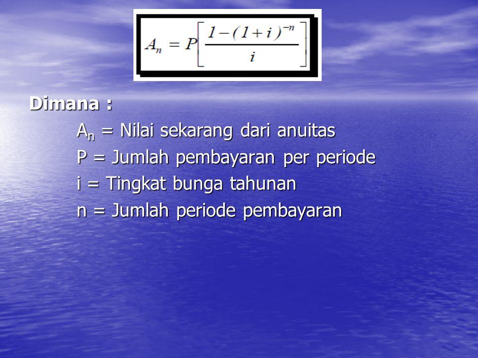 Dimana : A n = Nilai sekarang dari anuitas P = Jumlah pembayaran per periode i = Tingkat bunga tahunan n = Jumlah periode pembayaran