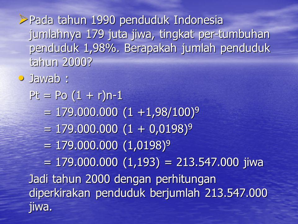 Rumus nilai masa datang dari anuitas adalah: S n = P {(1+ i) n -1 } i i Dimana : Sn = nilai di masa datang P = jumlah sekarang i = suku bunga per tahun n = jumlah tahun