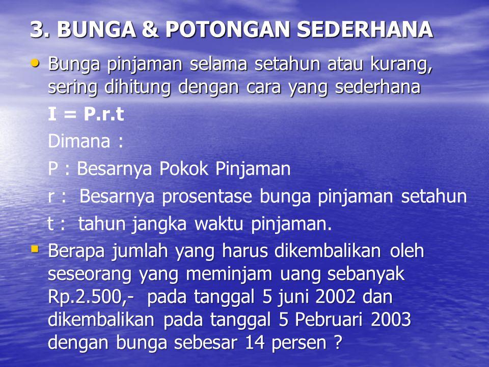 3. BUNGA & POTONGAN SEDERHANA Bunga pinjaman selama setahun atau kurang, sering dihitung dengan cara yang sederhana Bunga pinjaman selama setahun atau
