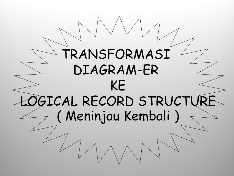 TRANSFORMASI DIAGRAM-ER KE LOGICAL RECORD STRUCTURE ( Meninjau Kembali )