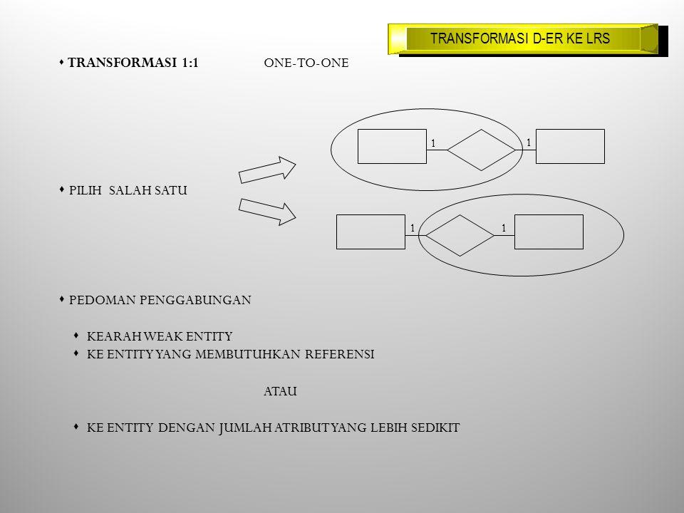s TRANSFORMASI 1:1 ONE-TO-ONE s PILIH SALAH SATU s PEDOMAN PENGGABUNGAN s KEARAH WEAK ENTITY s KE ENTITY YANG MEMBUTUHKAN REFERENSI ATAU s KE ENTITY DENGAN JUMLAH ATRIBUT YANG LEBIH SEDIKIT 1 1 11 TRANSFORMASI D-ER KE LRS
