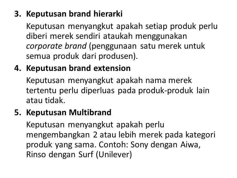 3.Keputusan brand hierarki Keputusan menyangkut apakah setiap produk perlu diberi merek sendiri ataukah menggunakan corporate brand (penggunaan satu m