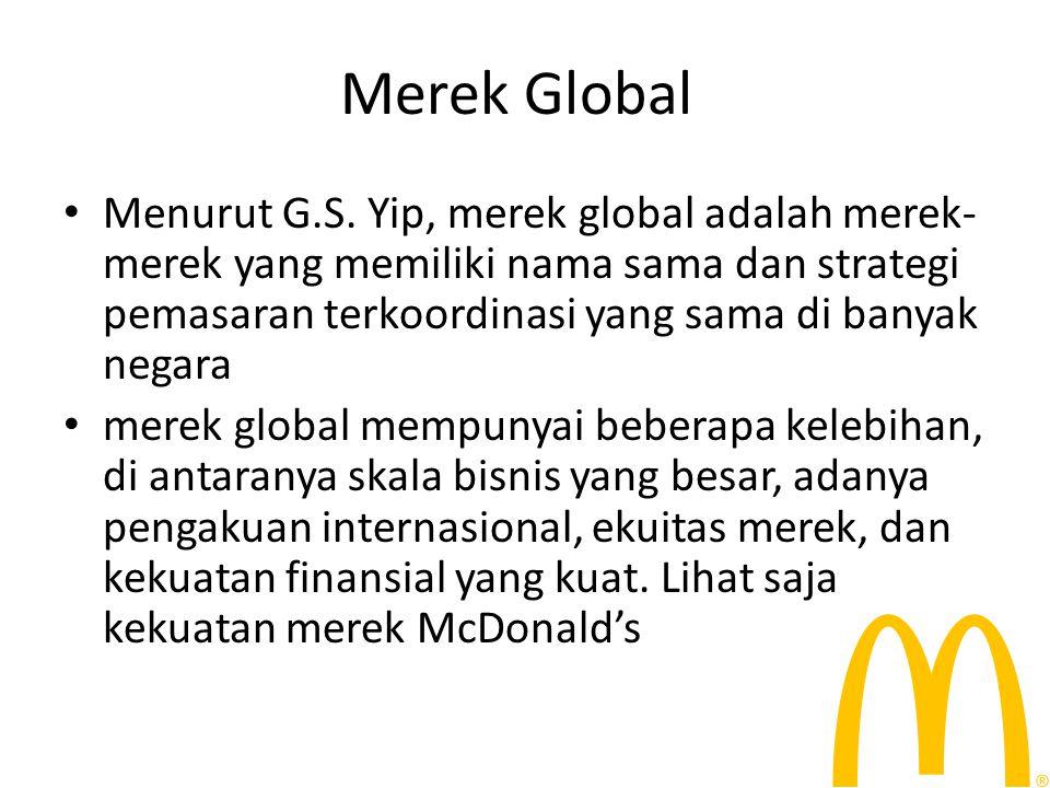 Persepsi konsumen terhdap merek global jaminan kualitas, simbol identitas ideal global, dan kepedulian merek terhadap isu-isu sosial kebanyakan perusahaan di Indonesia masih berada pada tahap pemasaran internasional.